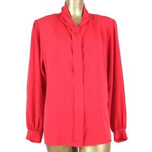 80s Button Up Long Sleeve Padded Shoulder Blouse